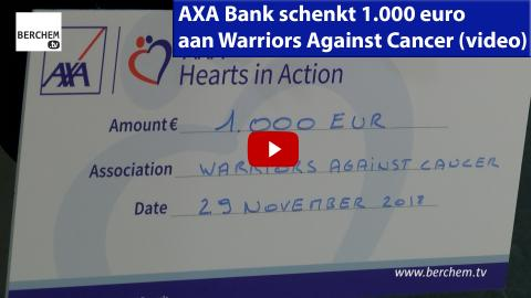 AXA Bank schenkt 1.000 euro aan Warriors Against Cancer Berchem TV
